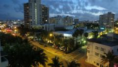 Miami Beach City Sunset Tilt Down Time Lapse - stock footage