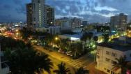 Stock Video Footage of Miami Beach City Sunset Tilt Down Time Lapse