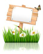 Nature background with grass and sign and a paper. vector. Stock Illustration