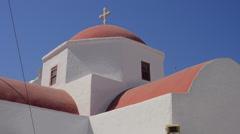 Mykonos Greece center of island church dome of Greek Orthodox religion Stock Footage