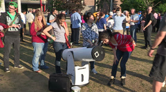 Campus life astronomy event with college and university students and telescopes Stock Footage