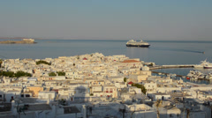 Mikonos Greece city at sunrise  white village port Greek above Stock Footage