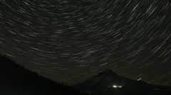 Long Star Trails from Perseid Comets in Trillium Lake with Mount Hood Time Lapse Stock Footage