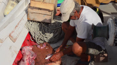 Greece Paros Cyclades Naousa or Naouusa fisherman cutting fish on fishing boat Stock Footage