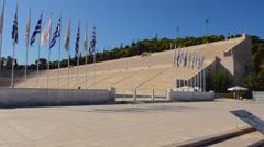 Athens Greece the original 1896 Olympic Stadium called Panathinaiko Stadium in Stock Footage