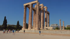 Athens Greece ruins of the famous Temple of Zeus pillars and historical monument Stock Footage