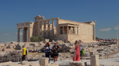 Athens Greece at the Acropolis of the 6 Ladies at the Erechtelon building with Stock Footage
