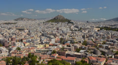 Athens Greece the panoramic of the vast city buildings in the center of the city Stock Footage