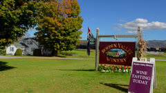 Cambridge Vermont Boyden Valley Winery in fall foilage in New England for Stock Footage