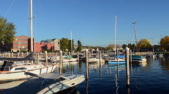Burlington Vermont Fall Harbor Marina with boats Northern New England in Stock Footage