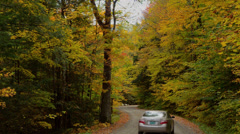 Jeffersonville Vermont fall color road car driving in fall leaves - stock footage