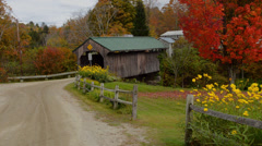 Waterville Vermont covered bridge Church Street Covered Bridge with fall foliage Stock Footage