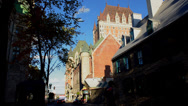 Stock Video Footage of Quebec City Quebec Canada street scene and the famous Chateau Frontenac Hotel