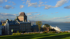 Quebec City Quebec Canada beautiful scene with the famous Chateau Frontenac Stock Footage