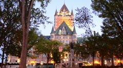 Stock Video Footage of Quebec City Quebec Canada beautiful twilight scene with the famous Chateau