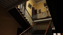 Old staircase of the building Stock Footage