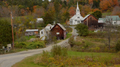 Stock Video Footage of Waits River Vermont perfect New England town with church steeple and barn in