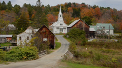 Waits River Vermont perfect New England town with church steeple and barn in Stock Footage