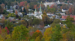Littleton New Hampshire perfect New England town with fall foliage colors in Stock Footage