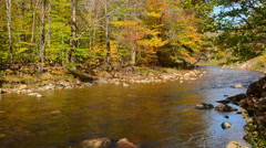 Jackson New Hampshire river flowing in White Mountains National Forest in Stock Footage