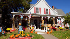 Jackson New Hampshire pumpkins for Halloween in Northern New England in fall - stock footage