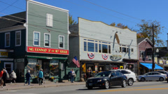 North Conway New Hampshire downtown Main Street with stores and 5 & 10  in - stock footage