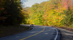 Kancamagus Highway New Hampshire near Conway road driving in  fall foliage in Stock Footage