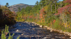 Kancamagus Highway New Hampshire near Conway Swift River with rocks and fall - stock footage