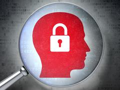 Stock Illustration of Data concept: Head With Padlock with optical glass on digital b