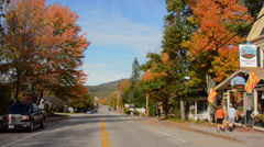 Bethel Maine small Main Street downtown with Maine Made Gifts for shopping in Stock Footage
