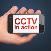 Security concept: CCTV In action on smartphone - stock illustration