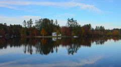 Norway Maine beautiful fall scene of Lake Pennasseewassee with summer homes and Stock Footage