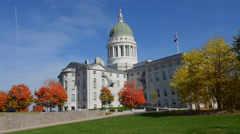 Augusta Maine fall colors Capital Building in government in New England Stock Footage