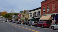 Camden Maine village downtown stores in center of town in New England Stock Footage