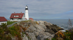 Portland Maine beautiful lighthouse called Portland Headlight with water and - stock footage