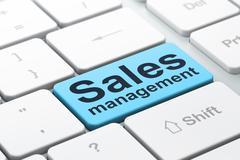 Advertising concept: Sales Management on computer keyboard backg Stock Illustration