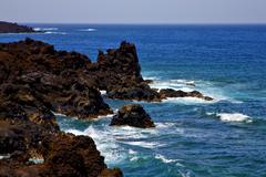 rock spain  sky light  beach    landscape    cloud - stock photo