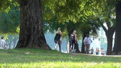 People outdoor in the city doing exercise - stock footage