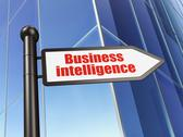 Stock Illustration of Business concept: Business Intelligence on Building background