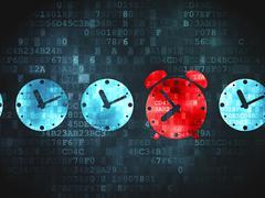 Stock Illustration of Time concept: Alarm Clock on digital background