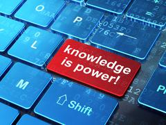 Education concept: Knowledge Is power! on computer keyboard back Stock Illustration