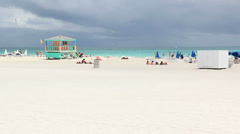 South Beach Miami Storm Clouds Lifeguard Tower Wide Stock Footage