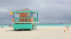 South Beach Miami Storm Clouds Lifeguard Tower Stock Footage