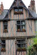 half-timbered house in chinon, vienne valley, france - stock photo