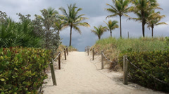South Beach Miami Storm Clouds Path Stock Footage