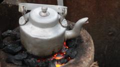 Closeup shot of Tea pot Stock Footage