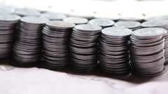 Closeup shot of Indian Rupee coins Stock Footage