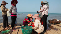Selling crabs on the market. Stock Footage