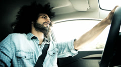 Cool italian handsome man driving car Stock Footage