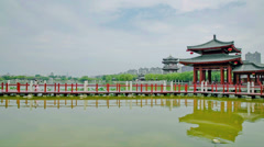 Lake in chinese park ,xi'an, shaanxi, China Stock Footage